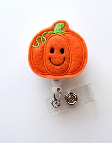 Smiling Pumpkin - Teacher Badge Holder - Nurses Badge Holder - Felt Badge - Nursing Badge Holder - Teacher Badge Reel - RN Badge Reel- Belt Slide Clip - Halloween Badges
