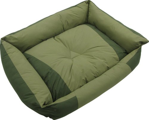 Kakadu Pet Island Bolster Dog Bed, Small, 23″ x 20 1/2″ x 6″, Husk and Palm (Green), My Pet Supplies
