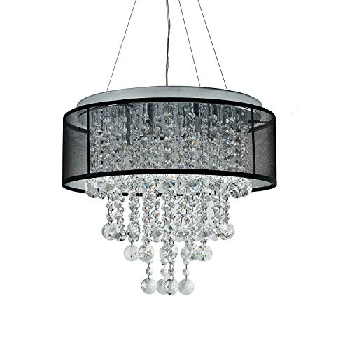 Visalia Chrome and Translucent Black Shade 6-Light Crystal Chandelier