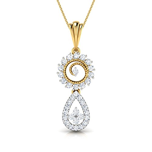 14 K Or blanc 0,38 CT TW Round-cut-diamond (IJ | SI) Pendentif