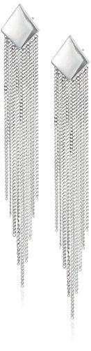 Sterling Silver Chain Tassel Drop Post Earrings -