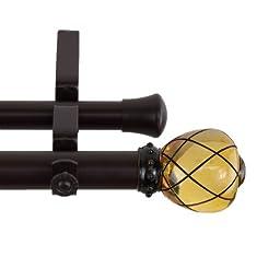 A&F Rod Decor - Monarch Double Curtain Rod 1 inch diameter, 66 - 120 inch - Clear Champagne