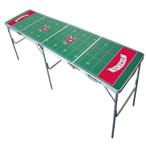 Wisconsin Badgers Tailgate Table, NCAA Football Tailgating, 2x8, 8ft, Aluminum, Lightweight, Portable