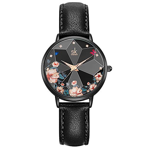 SHENGKE Creative Flower Women Watch with Stainless Steel Mesh Band Genuine Leather Elegant Women Watches (Flower- Genuine Leather-Black)