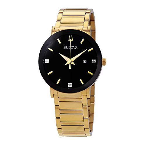 Bulova Diamond Black Dial - Bulova Men's Diamond - 97D116 Gold/Black One Size