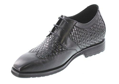 Calto T7621-3 Inches Groter - Hoogte Toenemende Lift Schoenen - Zwarte Veterschoenen Formele Jurk Schoenen
