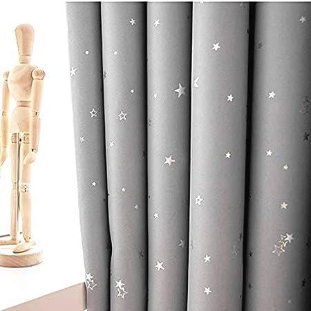 Lot De 2 Rideaux Gris Etoiles Rideaux Occultants Enfants Etoiles gris, 140x160cm