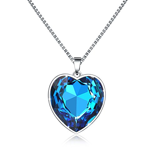 Funny Guy Costume 2016 (Osiana Heart Shaped Pendant Necklace - Womens Fashion Necklaces Made with SWAROVSKI Crystal in Gift Box Color Blue B21)