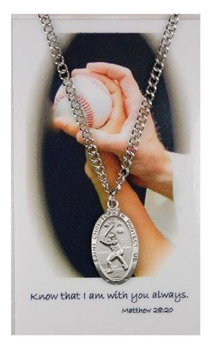 Pewter Saint Christopher Baseball Medal on Nickel Chain for Boys, 1 Inch