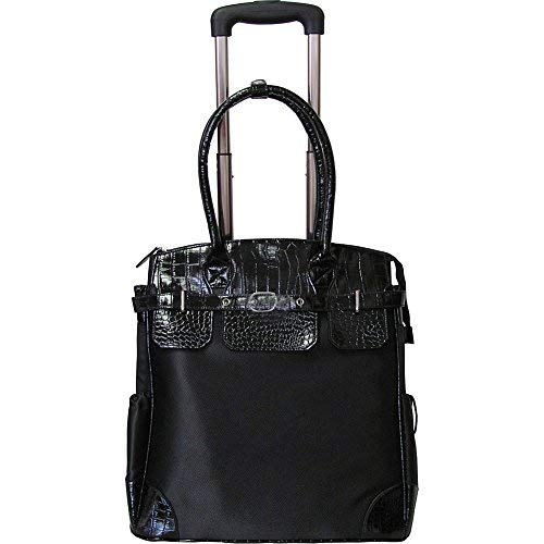 AmeriLeather Deluxe Skylar Women's Large Rolling Laptop Tote (Black) ()