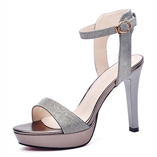 Zapatos para mujer HWF Tacones de Aguja de Verano Sandalias Femeninas Atractivas (Color : Lead Color, Tamaño : 35) Lead Color