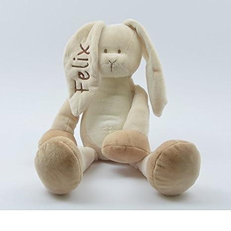 61c738cba2 Stofftier KUSCHELHASE mit NAMEN - Baby Kinder Hase personalisiert mit  Wunschnamen in braun: Amazon.de: Baby