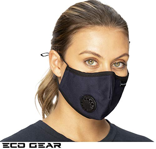 ECO-GEAR Anti Pollution Face Mask N99 Particulate Respirator| Unisex Mask Anti Dust, Exhaust Gas, Smoke, Smog, Pollen, Flu, Fumes, Germs and Allergies |Military Grade Washable and Reusable Mouth Mask