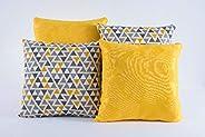 Kit Com 04 Capas Para Almofadas Decorativas Coloridas Estampadas Modelo 154