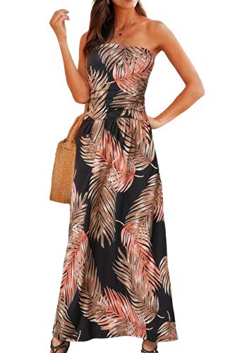 Happy Sailed Womens Summer Strapless Maxi Dress Pleated Casual Party Tribal Beachwear Dresses with Pockets Large Leaves