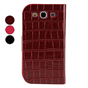 NEW Crocodile Protective Flip PU Leather Case for Samsung Galaxy S3 I9300 (Multi-Color) , Red