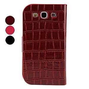 Crocodile Protective Flip PU Leather Case for Samsung Galaxy S3 I9300 (Multi-Color) --- COLOR:Rose