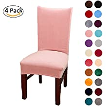Colorxy Spandex Fabric Stretch Dining Room Chair Slipcovers Home Decor Set of 4, Pink