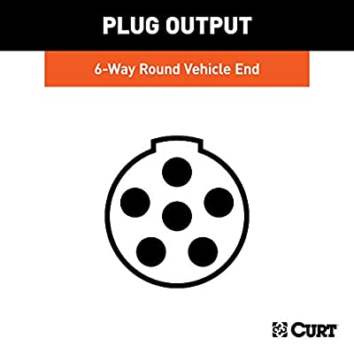 CURT 58090 Vehicle-Side 6-Way Round Trailer Wiring Harness Socket, 6-Pin Trailer Wiring: Automotive