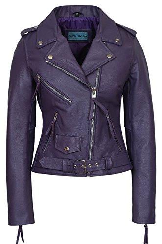 Womens Purple Leather Jacket - 7