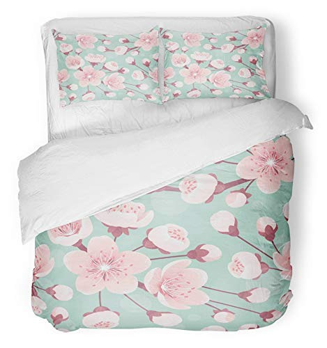 Soefipok 3 Piece Duvet Cover Set Breathable Brushed Microfiber Fabric Pink Peach Cherry Blossom Spring Flowers Retro Bokeh Apple Apricot April Asian Bloom Bedding with 2 Pillow Covers Twin ()