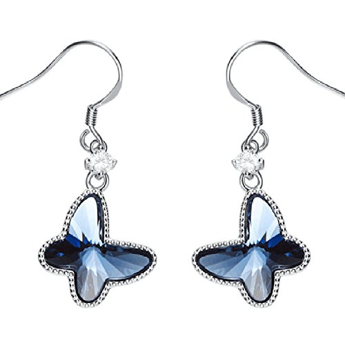 Eternalll Women Charm Butterfly Earrings Sterling Silver Jewellery Fashion SWAROVSKI Crystal Manufacture Beautiful Dangle Ear Studs (Butterfly Dangle)