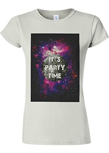 きらきら好ましい愛情It`s Party Time Galaxy Space Novelty White Women T Shirt Top-S