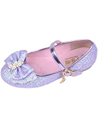 O&N Kids Girls Bow Mary Jane Flats Wedding Party Shoes Glitter Bridesmaids Princess Dress Shoes