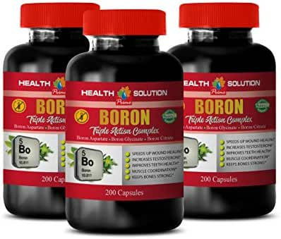 Brain Health Memory Energy Mood - Boron Triple Action Complex - Non GMO - Testosterone Booster Pills for Men - 3 Bottles 600 Capsules