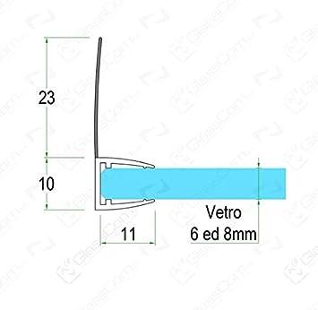 Junta para mampara de ducha de 2,20 m, con solapa blanda de 23 mm, para cristales de 6 a 8 mm: Amazon.es: Bricolaje y herramientas