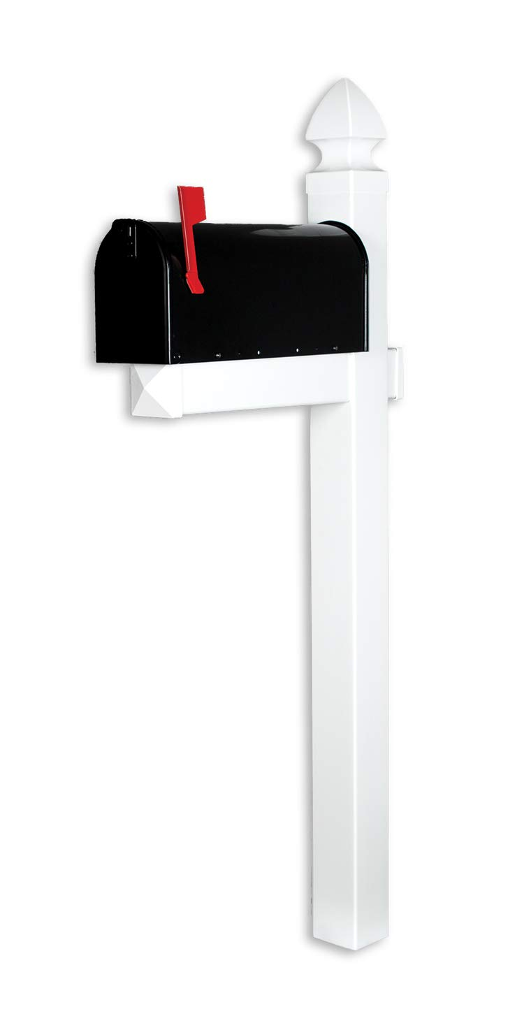 4EVER The Richmond Vinyl/PVC Mailbox Post No Dig System - White (Includes Mailbox)