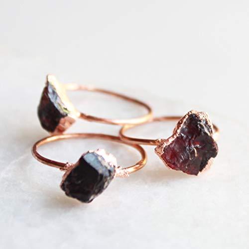 Handmade Copper Gemstone Natural Raw Garnet Dainty Solitaire Stacking Ring Rustic Boho Bohemian Chic Gifts for Women Girls Her Mom Chakra