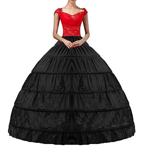 (YULUOSHA Uswear Women Black Crinoline Hoop Petticoats Skirt Slips Floor Length Underskirt for Ball Gown Wedding Dress)