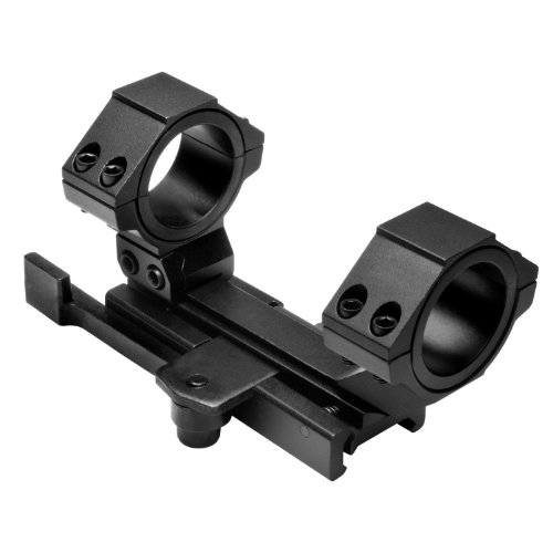 NcStar AR15 QR Weaver Mount/Cantilever Scope Mount Rear Ring/30mm and 1-Inch Inserts (MARCQ), Black