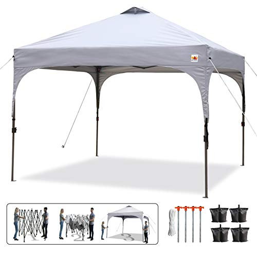 - ABCCANOPY 10 x 10 Pop-Up Canopy Tent Beach Canopy Instant Shelter Tents Canopy Popup Outdoor Portable Shade with Wheeled Carry Bag Bonus Extra 4 x Weight Bags, 4 x Ropes& 4 x Stakes, Gray