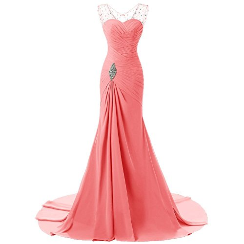 Sweetheart Evening Dresses Mermaid Prom Coral Women's Gowns Long Crystal ASBridal Chiffon qxXnOwt1F