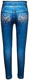 Crush Toddler Crush Girls Printed Pockets Seamless Leggings Pants 2T - 4T Denim Blue