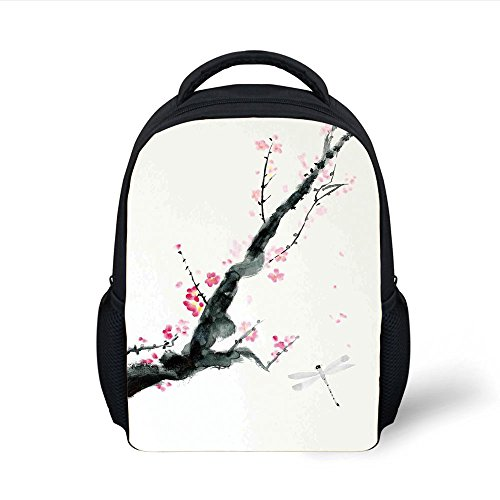 iPrint Kids School Backpack Dragonfly,Branch of a Pink Cherry Blossom Sakura Tree Bud and A Dragonfly Dramatic Artisan,Pink Black Plain Bookbag Travel Daypack ()