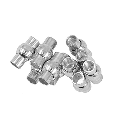 Jili Online 10 Sets Tube Magnetic Copper Cord End Caps Clasp with 5mm Glue-in Ends Jewelry Findings - Silver, 5mm