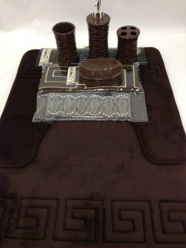 Amazon.com: 19 Piece Bath Accessory Set Coffee Brown Soft Memory Foam Bathroom  Rug