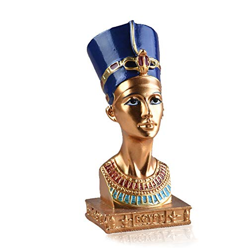 "VAXMON Ancient Egyptian Queen Nefertiti Statue Small Head and Bust Resin Statue Figurine Sculpture Home Decor Crafts 4.5"" Tall"