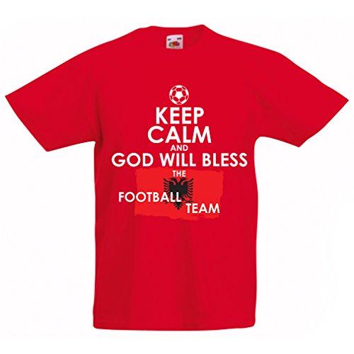 (Kids Boys/Girls T-Shirt God Will Bless The Albanian National Football Team - Championship, World Cup Soccer Team Fan Shirt (9-11 Years Red Multi)