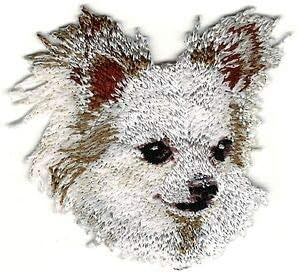 "2 1//8/""x2 1//8/"" White Chihuahua Head Portrait Dog Breed Embroidery Patch"