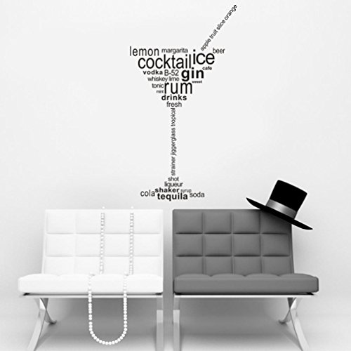 Transer Wall Sticker, DIY Cocktail Ice Gin Rum Drinks Removable Wall Decal Living Room Tea Room Decoration (Black) (Drinks Dark Rum)