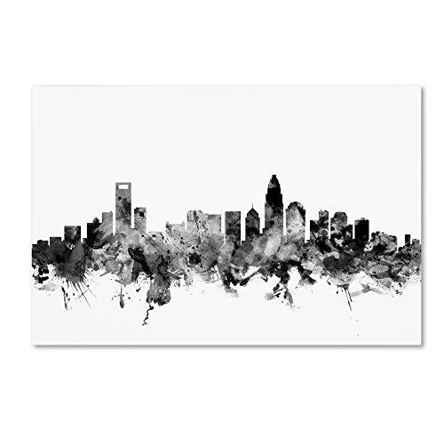 Charlotte NC Skyline B&W by Michael Tompsett, 16x24-Inch Canvas Wall - Us Nc Charlotte