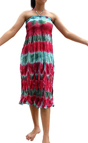 Full Funk Plain Strapless Smock Tube Top Tiedye Dress Green Pink Small
