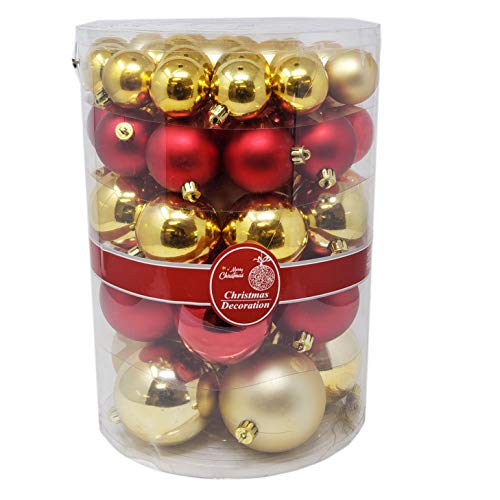 Christmas Festive Holiday Season Colorful Sparkling Shiny Ball Ornaments Set of 57PCs Mixed Colors Gold&Red,8CM for Home, Office Xmas Decoration, Holiday, Party-Shatterproof,Thanksgiving,Gifts (114) -