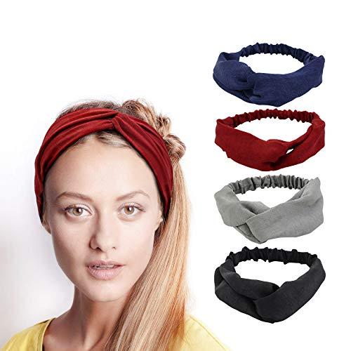 Accessory Wrap Hair (Simnice 4 Pack Women Girl's Headbands Criss Cross Elastic Head Wrap Twisted Yoga Hair Band Vintage Hair Accessories)