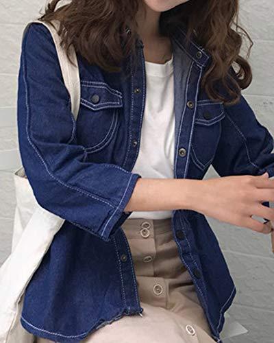Jeans Cappotto Anyua Denim Jacket Manica Lavato Lunga Di Giubbotto Giacca Blu Donna tRw8qU