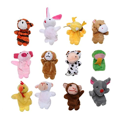 12 Zodiac Finger Puppets Different Family and Animal Style Cartoon Finger Puppets, Toddlers Shows/Playtime/Schools/Baby Story Time. (Ball Animal Zodiac)